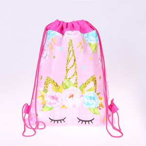 Unicorn Gift Bag Cartoon Non-woven fabric Drawstring Backpack Kids back to school Gift birthday party Favor