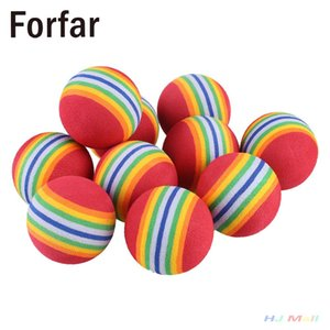 forfar 10Pcs Rainbow Stripe EVA Sponge Golf Tennis Ball Swing Practice Training Aid
