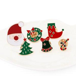 Weihnachten Broschen Pins nette Karikatur-Weihnachtsmann-Baum-Socken Donuts Süßigkeit Emaille Pin Abzeichen Brosche Schmuck Geschenke