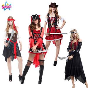 NoEnName Envío gratis Fiesta / Fiesta Pirata Disfraz de Cosplay Caribbean Pirates Fiesta de Halloween para Mujer Adulto