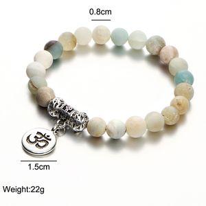 Matte Amazonite Strand Pierre Bracelet Yoga Chakra Mala Bracelet OM Lotus Femmes Hommes perles breloque main Bijoux