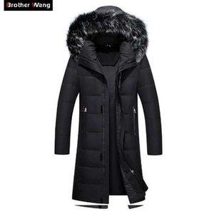 Fratello Wang Marca 2018 Inverno Nuovi uomini lungo piumino moda ginocchio caldo bianco anatra giù cappotto maschile Plus Size 4XL 5XL 6XL