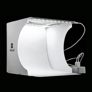 20 * 20cm 8 미니 접는 스튜디오 LED 빛을 가진 연약한 상자 라이트 박스 검정 흰색 사진 배경 사진 스튜디오 상자