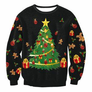 Christmas Patton Pullover Santa Claus Cute Print Pullover Pullover Jumper Outwear Frauen Muster von Rentier Schneemann Weihnachten