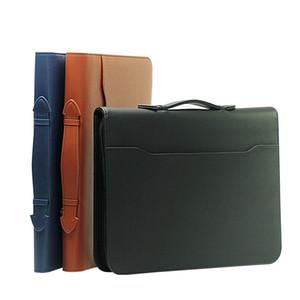 pasta Zipper agenda planejador gerente organizador A4 arquivo conferência de negócios de couro notebook multifunções com calculadora