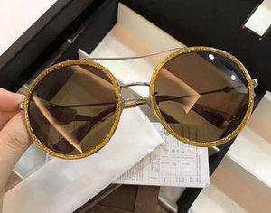 Lüks Bayan 0061 S Yuvarlak Güneş Gözlüğü 0061 Sarı Glitter Çerçeve / Kahverengi Degrade Lens 56mm Moda Güneş Gözlüğü Süper Kalite yeni