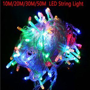 Ac powerd 10 متر 20 متر 30 متر 50 متر 100 متر الصمام سلسلة الجنية ضوء عطلة فناء شجرة عيد الميلاد الزفاف الديكور للماء ضوء جارلاند