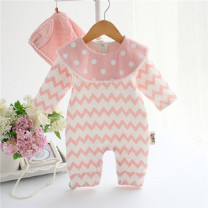 Yenidoğan Bebek Kız Giyim Seti Kalın Hava Pamuk Romper + Hat 2adet Çizgili Jumpuit Sevimli Tavşan Stil Bebek Doğum Hediye Giysiler