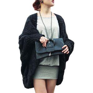 Otoño Invierno Nuevas Mujeres Suéteres Knited Cardigan Sweater Bat Sleeve Suelto Chal Ladies Thick Coat Vestidos LXJ031