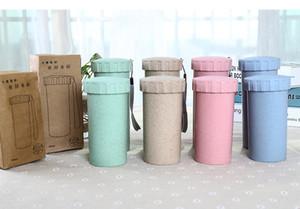 Botella de agua de paja de trigo 450ml con cadena de mano Copa de plástico ecológica portátil Taza de bebida de estudiante Taza de café de taza de oficina sin BPA