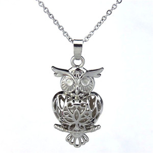 Silver Big Magnetic 41mm Owl Flower Hollow Oil Diffuser Locket Women Aromatherapy Beads Pearl Oyster Cage Necklace Pendant-Boutique gift