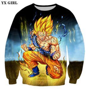 YX GIRL Marca clothing Classic Anime Z Camisola Com Raiva Goku 3d Imprimir Homens / Mulheres Camisola 2018 Novo estilo Hoodies