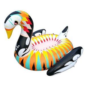2018 Fiesta en la piscina carrozas inflables 180 cm Gigante Cisne Adultos Colchón de agua Juguetes inflables de verano Piscina en la piscina Anillo de natación Barco rápido DHL