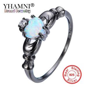 YHAMNI Nova Moda Anéis Pretos Definir Magical Rainbow Opal Diamante Preto Anéis De Ouro Antigo Jóias Branco CZ Anéis para As Mulheres R0084