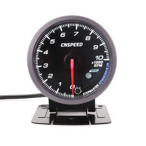 범용 60MM 자동 타코미터 0-10000 Rpm 게이지 검정색 얼굴, 흰색 호박색 조명 RPM 게이지 자동차 측정기