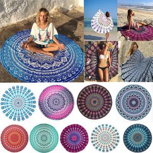 Indian Mandala Beach Towel Round Beach Blanket Chiffon Elephant Printing Tapestry Yoga Mat Summer Picnic Rug 31 Designs CNY67