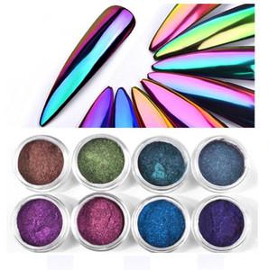 Tatyking 8 Styles Pearl Powder Nail Mirror Effect Rainbow Unicorn Nails Art Glitter Chrome Metallic Manicure Pigment