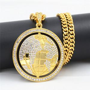 Neue Art-Mann-Schmucksachen Drehbare Kugel Bling Strass Fitness-Anhänger Kristall Halskette Vintage Gold Hip Hop-Mann-Frauen-Geschenk