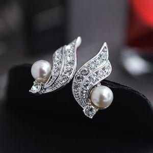 boucles d'oreilles perle aucun clip oreille percé pour les femmes avec l'Autriche cristal mode forme d'aile bijoux gros support gouttes