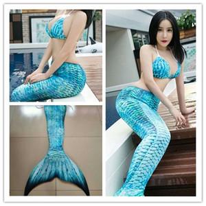 Sexy 3 pçs / set 2018 cauda de sereia adulto com Monofin para as mulheres Ariel Costume Natação Swimmable Cauda de Sereia cosplay Trajes de halloween S920