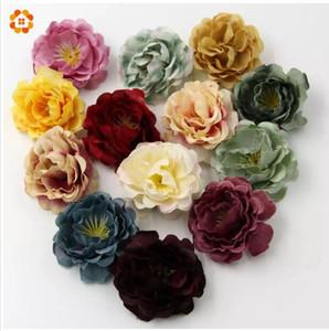 50PCS / porción de la alta calidad DIY cabeza de flor artificial de seda para la decoración del hogar del banquete de boda de la guirnalda Caja de regalo de Scrapbooking Fake Flowers