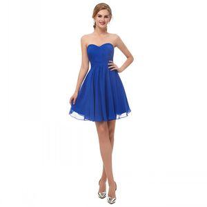 Taglia US2-US16 In magazzino Royal Blue Chiffon Homecoming Dreses Sweetheart senza maniche brevi abiti da ballo Indietro Zipper Tiered Formal Occasion Dress
