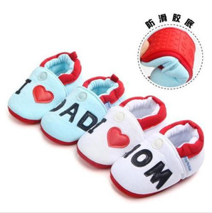 Newborn Baby Shoes Cute Baby Girl Boy Round Toe Flats Soft Slippers Shoes I Love MOM DAD