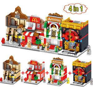 4 in 1 Mini Scene Blocks Negozio di fast food Negozio al dettaglio Architetture City Street Educational Building Block Set Modello di giocattoli in mattoni