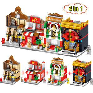 4 em 1 Mini Cena Blocos Loja de Varejo de Fast Food Arquiteturas Cidade Rua Educacional Building Block Define Modelo Tijolos Brinquedos