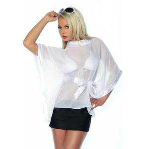 Sexy Transparente Bluse für Frauen Sommerhemden Weiß Rundhalsausschnitt T-Shirt Rosa Kimono Ärmel Tops Rash Guards