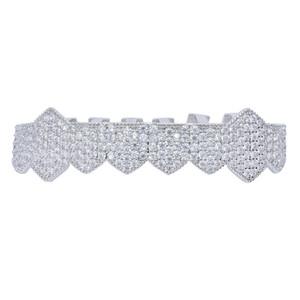 Iced Out Vampire Teeth Grillz Oro argento Placcatura Micro Pave CZ Stones Griglie per la bocca in forma superiore e inferiore