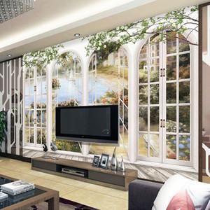 사용자 정의 3D 사진 벽지 유럽 미니멀리스트 침실 거실 TV 배경 Arches 3D Stripe Abstract Mural Wallpaper