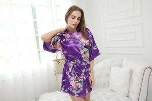 Mulheres Nightdowns Babydolls Chemises Roupa Interior Lingerie Íntima Sexy Sleepwear Vestidos Estampados Floral Lady Kimono Com Decote Em V Roupão
