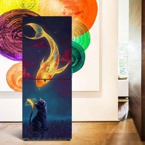 Top 3D Wall Art Sticker PVC Decal Self Adhesive Door Fridge DIY Mural 60x150CM, Cat Fish