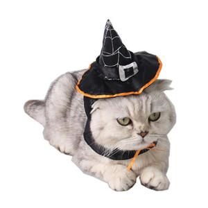 1 قطعة القط هالوين تأثيري يتوهم اللباس السحر الأسود معالج / الساحرة قبعة + سكراف مجموعة هالوين ازياء pet