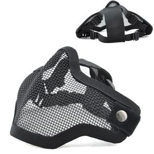 face à la moitié tactique Metal Net filet de protection extérieur 2G Airsoft Masque réglable avec sangle élastique pour le tir paintball de chasse