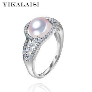YIKALAISI 2017 nueva moda 925 joyería de plata esterlina para las mujeres fuera del anillo de la perla de la joyería de agua dulce anillo de perla anillos de boda