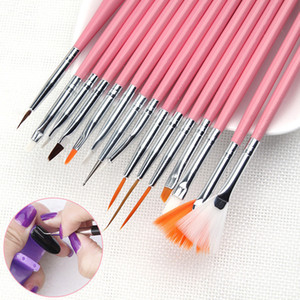 15pcs / Set professionnel UV Gel Nail Art Brosses Set Nail Design Polonais Peinture Dessin Stylo Manucure Nail Outils