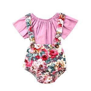 2 UNIDS Pudcoco Ropa Floral Toddler Baby Kid Girl Camiseta de Manga Corta Pantalones Cortos Generales Suspender Shorts Set