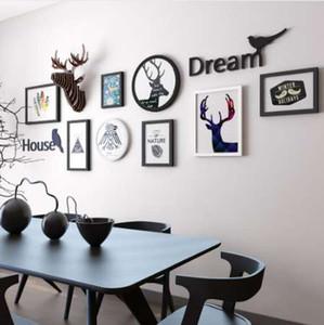 INKANEAR Collage Peinture En Bois Cadre Photo Set Lettre Cerf Mode Décor À La Maison En Bois Décoration Murale Famille Photo Cadre Mur
