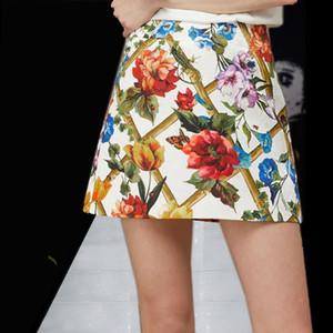 Marque Designer Femmes Jupes de Défilé 2018 Été Celebrity Mode Haute Rue Lady Taille Haute Imprimer Floral Jupes Courtes Streetwear
