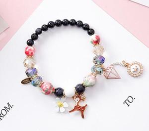 Bohemian nationalen Stil kleine frische Blumen Pulver Kristall Stein Hirsch Perle Krone kreative Perlen Armband