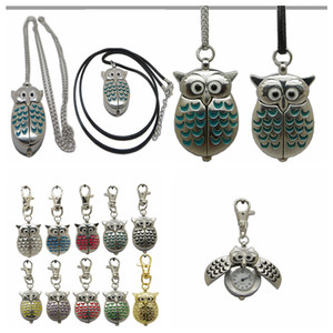 Retro Owl Fob Pocket Watch Necklace There Chains Hanging Pocket Quartz Watch Kids Women Men Gift Vintage 10 Colors AAA113