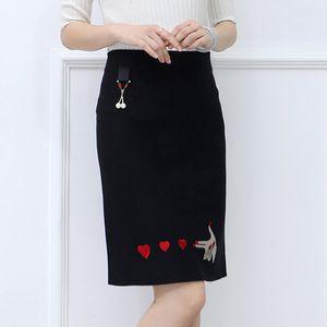 Fashion Knitted Skirt Hearts Embroidery Jupe Femme Elegant Ladies Autumn Women Skirts 2019 Casual High Waist Faldas Mujer Moda