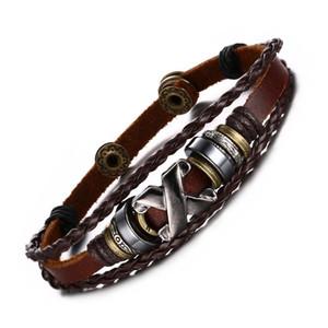 """Das Mulheres dos homens Handmade Bronze Alloy Buckle Corda Trançada Bead Genuine Leather Bracelet Cuff Bangle, 8.5 """""""
