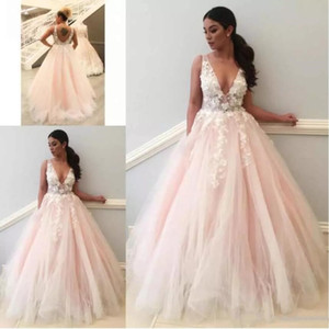 2020 Long Evening Dresses Sexy Deep V-Neck Party Gowns Floor Length Open Back Lace Appliques Tulle Women Prom Dress Free Shipping