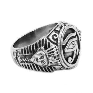 Toda vendaEgyptian Olho de Horus Ra Udjat Anel Amuleto Anel De Aço Inoxidável Egito Faraó Rei Motorista Do Motociclista Dos Homens Das Mulheres AtacadoSWR0741B