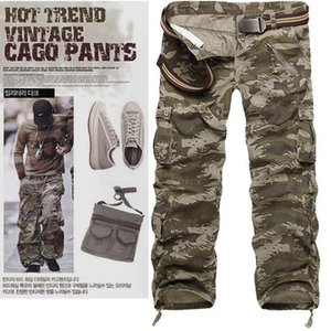 Casual Training Plus Size Cotton Breathable Multi Pocket Military Army Camouflage Cargo Pants Outdoor Fashion Men's Trousers WITHOUT Belt