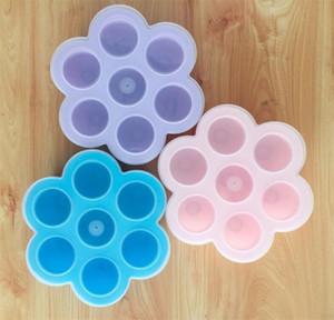 DIY Cajas de alimentos para niños Molde de pastel de silicona Contenedor de almacenamiento Bandeja de congelación con tapa 7 agujeros Moldeo de mordidas de huevo Molde de cocina Herramienta para hornear 11 5yc C