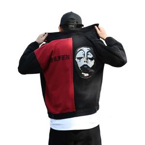 Frühling und Herbst New High Street Mann-Denim-Jacken-Mantel-Schwarz Rot Stitching Clown Graffiti Druck Stickerei Hip Hop-Oberbekleidung